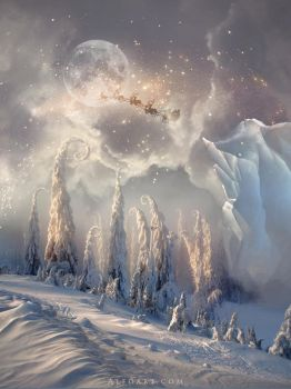 Christmas Night. Magic scene with flying Santa by AlexandraF