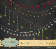 Chalkboard Floral Lights Clipart by DigitalCurio