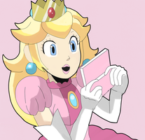Princess Peach Playing 3DS by RamyunKing
