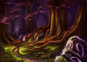 Teldrassil forest by DragonsTrace