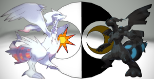 Reshiram and Zekrom (updated) by Elemental-Fang