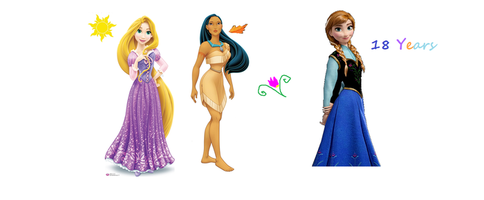 Rapunzel,Pocahontas and Anna ages by SaraLauren