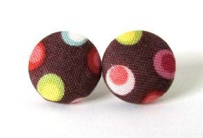Stud earrings button brown fall autumn red pink by KooKooCraft