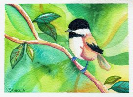 Chickadee (on cotton) by Yeral