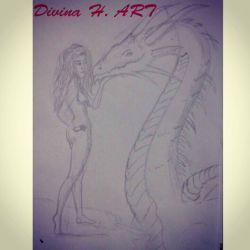 The Dragon Charmer (30 minute drawing challenge) by Divina-H-ART
