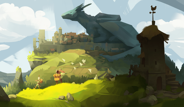 A town is a great chair for a dragon by sirallon