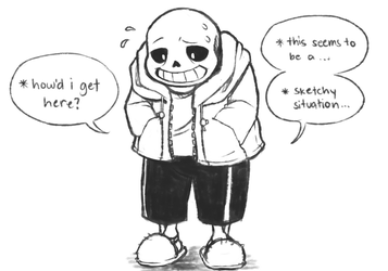My first doodle of Sans by Flotts
