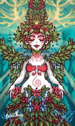 the goddess of spring - pixelart by nuriaabajo