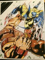 Wolverine vs Juggs Tony Carter colors Jeremy Scull by Drakelb