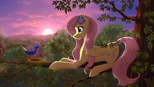 Fluttershy on a tree by Twotail813
