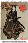 Samurai Girl Pyrograph on Coptic Journal - Front by snazzie-designz