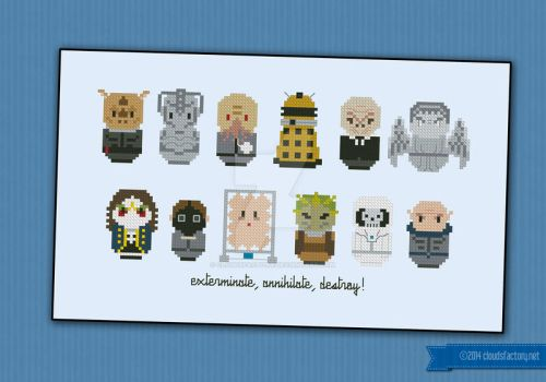 Mini People - Doctor Who Villains cross stitch by cloudsfactory