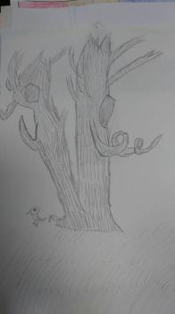 cartoonish drawing of a two trees by megatanklord