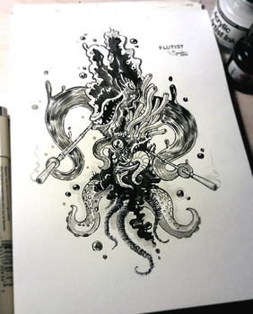 INKTOBER #12 - Flutist of Azathoth by hubertspala