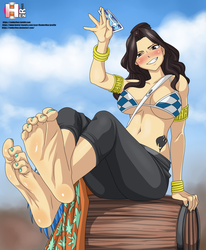 cana show her feet (fairy tail) by RankerHen