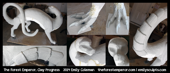 Forest Emperor, Clay Progress by emilySculpts