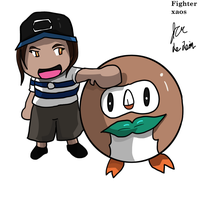 Rowlet and chibi trainer by fighterxaos