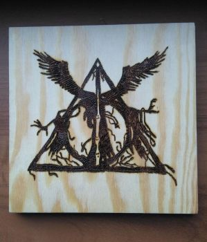 Deathly Hallows - Pyrography by Juggernaut-Art