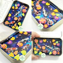 Large Marbled Blue Altoids Tin Koi Pond Commission by PepperTreeArt