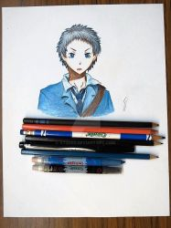 Crayon/ Color pencil: Ryuugamine Mikado by vt2000
