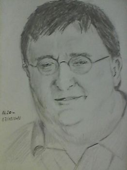 Gabe Newell - Portrait challenge - day 7 by Rhesus37