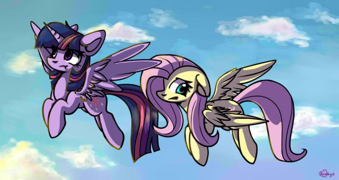 Twilight and Fluttershy by Amy-Gamy