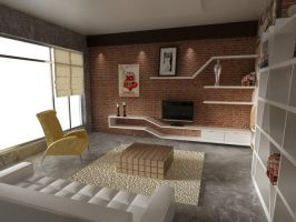 Living Room Red Brick by dandygray