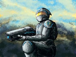 sci-fi soldier by Vixis24m