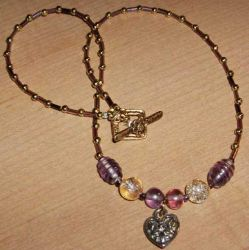 Necklace - Purple and Gold Luv by EricaSkye
