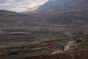 Hiker at Dovre National Park by oprust
