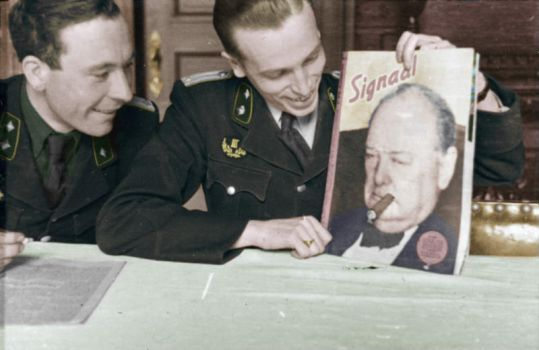 Belgian collaborators laughing at Churchill - 1943 by OldHank