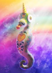 Mexican Rainbow Unicorn Seahorse by AndrewMcIntoshArt