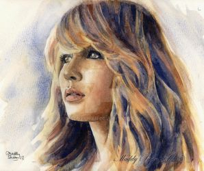 Jennifer Lawrence watercolor. See my YouTube video by MaddySwan