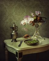 Still life with orchid and kiwi by Daykiney