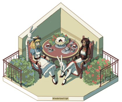 Commission - Wonderland Cafe! by HeartGear