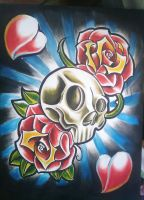 painting skull roses by WillemXSM