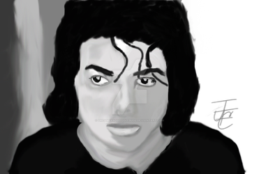 MJ grayscale painting by DreamsandDoodleBugs