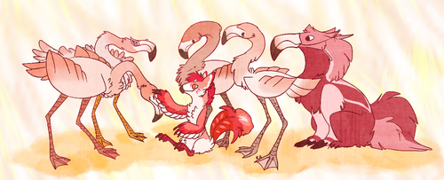 Flamingo party by red-anteater