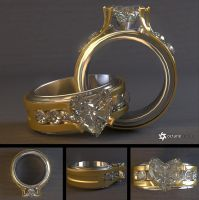 Diamond Heart Ring (Free 3D Model) by LuxXeon