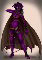 Blue Eyed Werewolf Tiefling Black Hair Rogue by Ch4rm3d