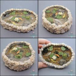 Commission: Miniature Stone Pond with 5 Koi by PepperTreeArt