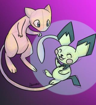 Mew and Pichu by skeletall