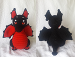 Red and Black Baby Wyvern by UnbridledMuse