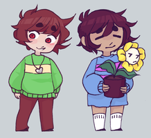 frisk+chara by knightic