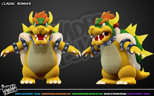 Classic Bowser- front and 3/4 view by realinvaderdesign