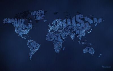 Typographic World Map Night by vladstudio