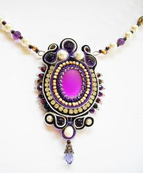 Purple soutache and pearl necklace by Britex55