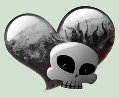 skull and heart by sewer-pancake