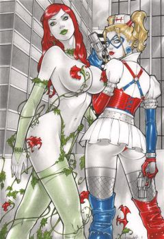 Rubismar: Poison Ivy and Harley Quinn by comiconart