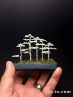 Silver 5 tree wire bonsai forest by Ken To by KenToArt